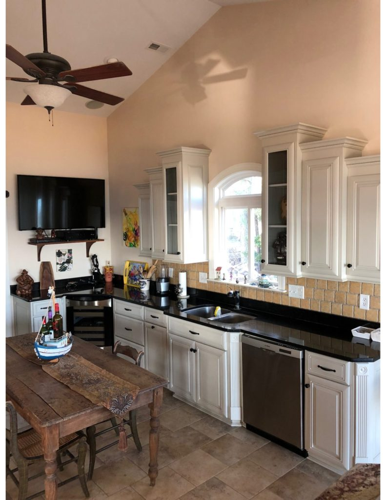 Refinished Kitchen Cabinets with Revere Pewter Color | Complete ...