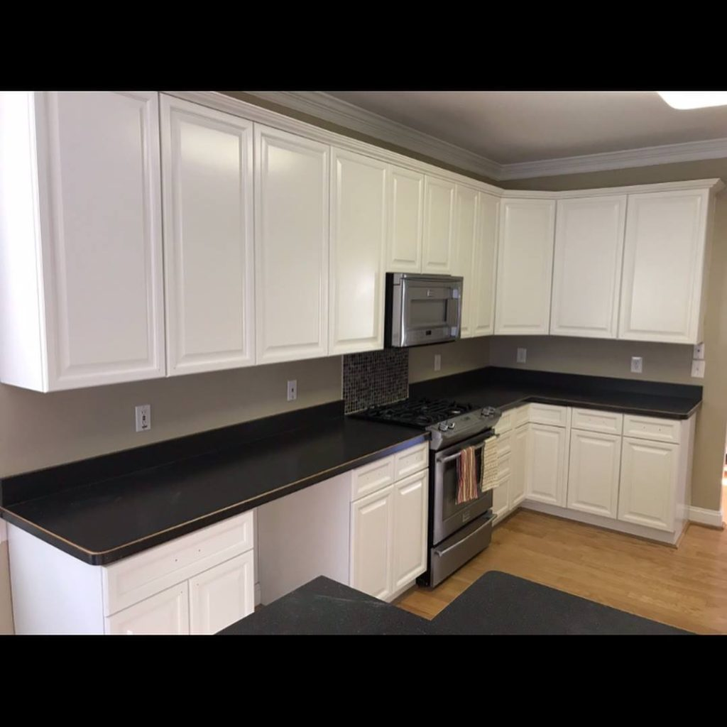 Builder Grade Maple Cabinets To White Complete Cabinet Refinishing