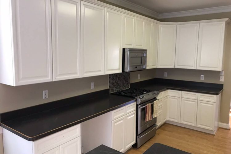 BUILDER GRADE MAPLE CABINETS TO WHITE