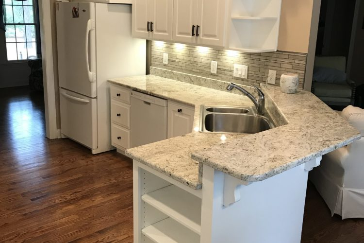 Maple Cabinets Refinished to a Custom White